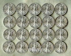 2014 American Silver Eagle Dollar Roll Bu 20 Coins In Mint Tube