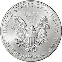 2015 American Silver Eagle (1 oz) $1 5 Rolls 100 BU Coins in 5 Mint Tubes