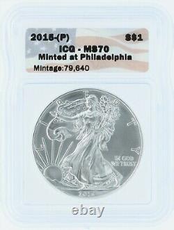 2015-P Silver Eagle ICG MS70 S$1 Flag Tag Minted at Philadelphia