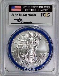 2015 W $1 Burnished Silver Eagle PCGS SP70 Mercanti Signed Mint Engraver Series