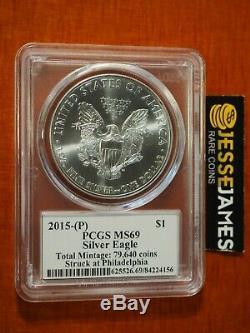 2015 (p) Silver Eagle Pcgs Ms69 Flag Mercanti Struck At Philadelphia Mint 79,640