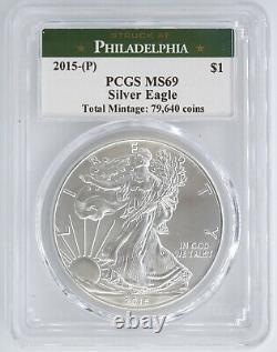 2015-(p) Struck By Philadelphia Mint Silver Eagle Pcgs Ms69 955575