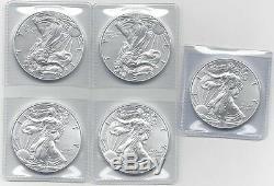 2016 1 oz Silver American Eagle Coins BU (Lot of 5) Five Troy oz. 999 Bullion
