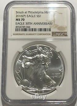 2016 (p) Silver Eagle Ngc Ms70 Struck At Philadelphia Mint Brown Label. 999 Fine