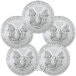 2017 1 oz Silver American Eagle Coins BU (Lot of 5) Five Troy oz. 999 Bullion