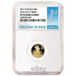 2017 US Mint Gold American Eagle NGC PF-70 First Day Of Issue Set