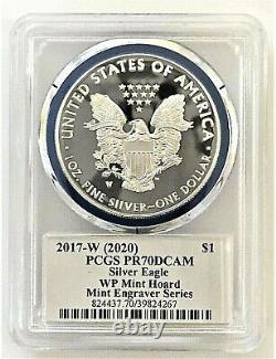 2017-w Mint Engraver Silver Eagle-west Point Mint Hoard-pcgs Pr70-mercanti-flag