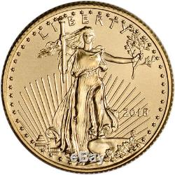2018 American Gold Eagle (1/4 oz) $10 1 Roll Forty 40 BU Coins in Mint Tube