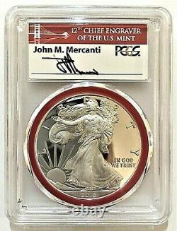 2018-s Mint Engraver Silver Eagle-pcgs Pr70-fdoi-mercanti-ana Show-pop 100
