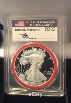 2018-s Pcgs Pr70dcam Silver Eagle Mercanti Mint Engraver Series San Francisco $1