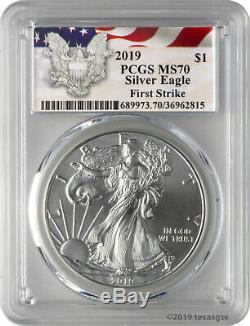 2019 $1 American Silver Eagle PCGS MS70 First Strike Eagle Label Lot of 5