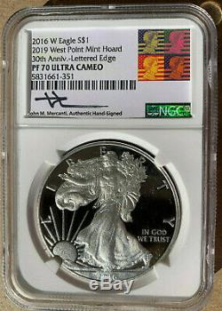 2019 West Point Mint Hoard2016 W Silver Eagle Ngc Pf70 Mercantireagan Label