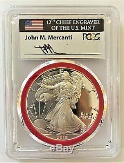 2019-s Proof Silver Eagle-pcgs Pr70-fdoi-mint Engraver-mercanti-flag-pop 100