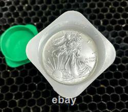 2020American Silver Eagle 1 oz $1 1 Roll Twenty 20 BU Coins in Mint Tube