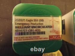 2020Roll of 20American Silver Eagles BU1ozEmergency issue Minted@Philly Last One