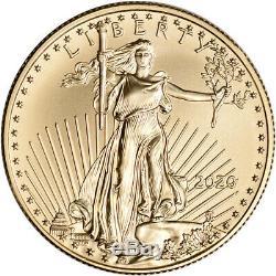 2020 American Gold Eagle 1/2 oz $25 BU coin in U. S. Mint Gift Box