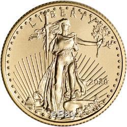 2020 American Gold Eagle 1/4 oz $10 BU coin in U. S. Mint Gift Box