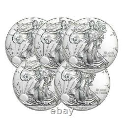 2020 United States Silver Eagle 1 oz Coin Lot of 5