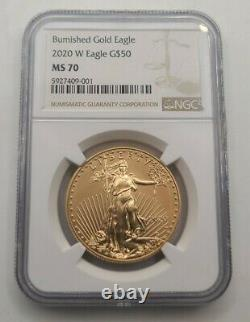 2020 W Burnished Gold Eagle 1 Oz Ngc Ms70 Rare Only 7,000 Minted