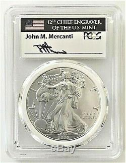 2020-p Emergency Issue Silver Eagle-pcgs Ms70-fdoi-mint Engraver-mercanti-flag