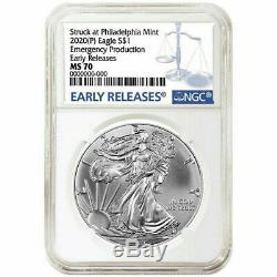2020 (p) Silver Eagle Ngc Ms70 Early Release Emergency Issue Philadelphia Mint