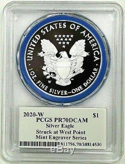 2020-w Mint Engraver Proof Silver Eagle-pcgs Pr70-mercanti-flag-population 100