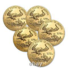 2021 1 oz American Gold Eagle BU (Lot of 5)