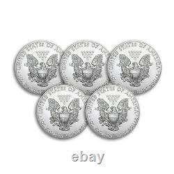2021 1 oz American Silver Eagle BU Lot of 5