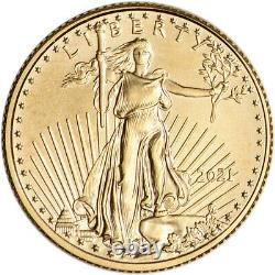 2021 American Gold Eagle 1/10 oz $5 BU coin in U. S. Mint Gift Box