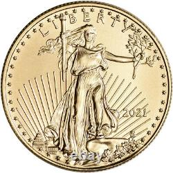 2021 American Gold Eagle 1/2 oz $25 1 Roll Forty 40 BU Coins in Mint Tube