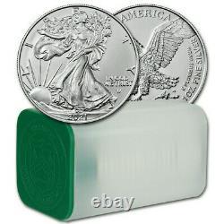 2021 American Silver Eagle Ty- 2 1 oz $1 1 Roll Twenty 20 BU Coins in Mint Tube