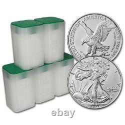 2021 American Silver Eagle Type 2 1 oz $1 5 Rolls 100 BU Coins in 5 Mint Tubes