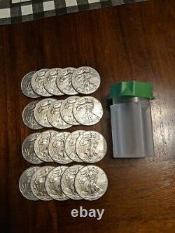 20 American Silver Eagles 1 oz $1 1 Roll Twenty 20 BU Coins in Mint Tube