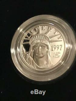 2 1997 Platinum PROOF $25 American Eagle 1/4 oz Coin US Mint CASE COA