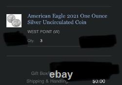 American Eagle 2021 One Ounce Silver Uncirculated Coin LOT OF 3 SEALED