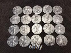American Silver Eagle BU Coins 2020. Lot Roll Of 20. Twenty. Mint Tube