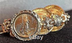 Art's Elegance Women's 14k Gold $5 American Eagle Coin Ring & Bracelet Set Mint