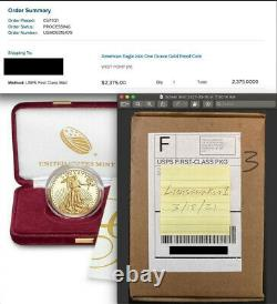 IN HAND, Gold Eagle 2021 W, 1 Oz Gold Proof 21EB, Sold Out, Only 12,700 Minted