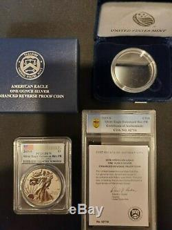 LOT OF 3 2019-S Silver Eagle Enhanced Reverse Proof PR70 First Strike PCGS WithCOA