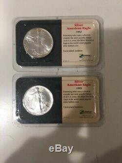 LOT OF 8 1991,92,95,98,94, 3x 2001 AMERICAN SILVER EAGLE Littleton holder