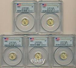 Lot (5) 2010 American Gold Eagles 1/10 Oz-pcgs Graded Ms70-first Strike-free S/h
