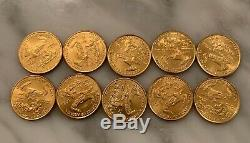 Lot of 10 1/10 oz Gold American Eagle $5 Coin BU (2016-2018)