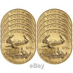 Lot of 10 2018 $10 American Gold Eagle 1/4 oz Brilliant Uncirculated