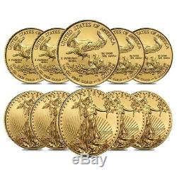 Lot of 10 2020 1/10 oz Gold American Eagle $5 Coin BU