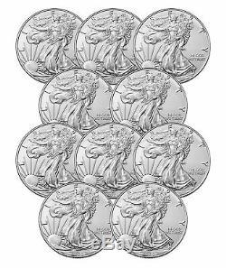 Lot of 10 2020 $1 1 oz American Silver Eagle Coin. 999 fine BU US Mint