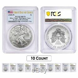 Lot of 10 2020 (P) 1 oz Silver American Eagle PCGS MS 70 FDOI Emergency Issue
