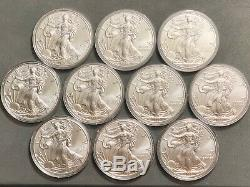 Lot of 10 2020 Silver American Eagle $1 Coins 1 oz. BU Fresh From Mint Roll