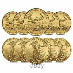 Lot of 10 2021 1/10 oz Gold American Eagle $5 Coin BU