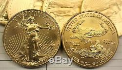 Lot of 10 American Gold Eagles 1 oz coins, random collectible dates 1993-2011