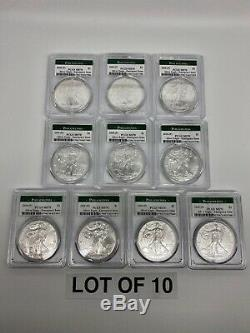 Lot of 10 Coins- 2020 (P) American Silver Eagle PCGS MS70 Emergency Philadelphia